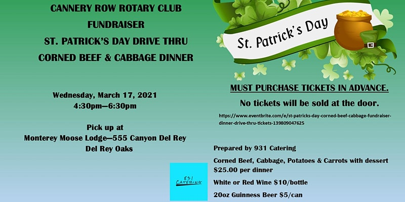 Have delicious food at St. Patricks Day Corned Beef & Cabbage Fundraiser Dinner - Drive Thru
