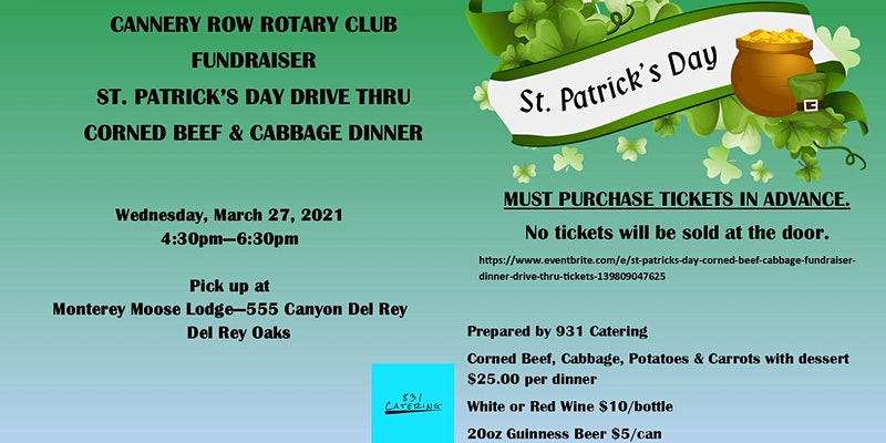 St. Patrick\'s Day Corned Beef & Cabbage Fundraiser Dinner - Drive Thru